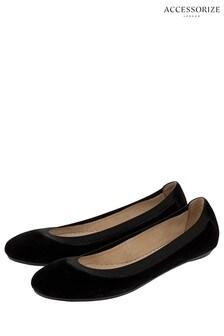 Accessorize Black Suede Ballerina Shoe