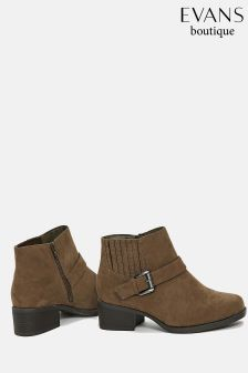 Evans Sand Extra Wide Fit Elastic Detail Square Boot