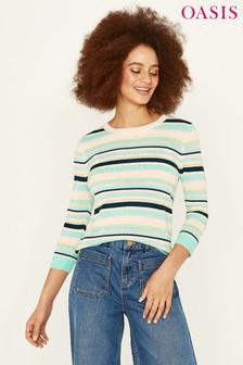 Oasis White Napoli Pointelle Stripe Knitwear