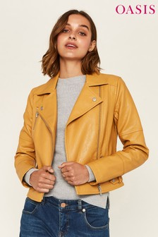 Oasis Yellow Faux Leather Biker