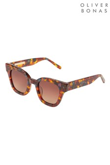 Oliver Bonas Brown Square Sunglasses