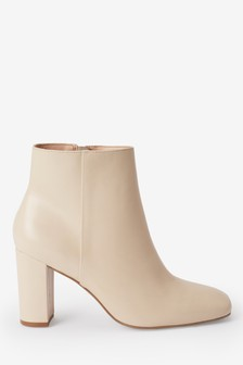 Signature Comfort Square Toe Leather Ankle Boots
