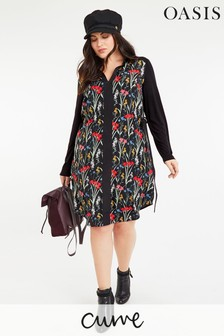Oasis Black Curve Floral Shirt Dress