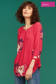 Joules Raspberry Bircham Bloom Woven Shell Top
