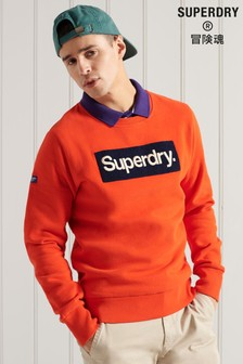 Superdry Orange Core Logo Workwear Crew Sweatshirt