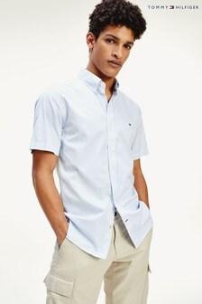 Tommy Hilfiger Blue Classic Twill Stripe Short Sleeve Shirt