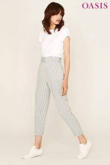 Oasis Black Pinstripe Linen Peg Leg Trouser