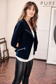 Pure Collection Navy Velvet Biker Jacket