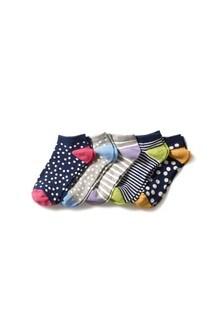 Spot Stripe Trainer Socks Five Pack