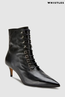 Whistles Black Lace-Up Boot