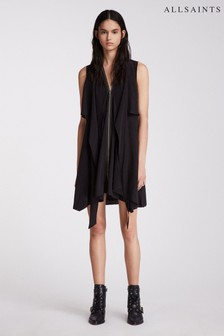 AllSaints Black Jayda Silk Dress