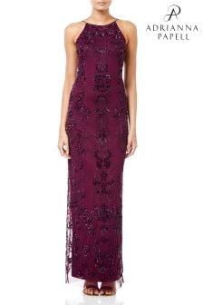 Длинное платье с отделкой бисером Adrianna Papell