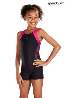Speedo® Black And Pink Splice Legsuit