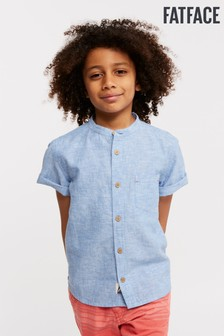 FatFace Blue Plain Grandad Shirt