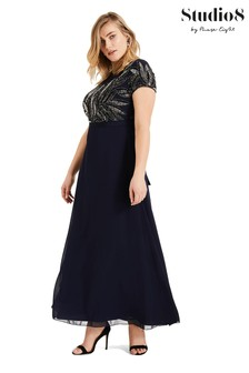 Studio 8 Blue Flora Beaded Maxi Dress