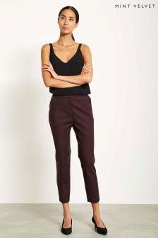 Mint Velvet Red High Waisted Side Stripe Capri Trousers
