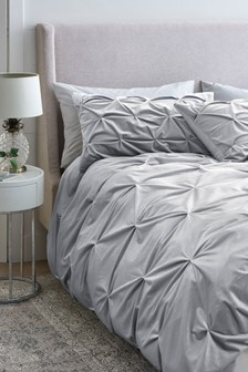 Velvet Pinched Silver Duvet Cover and Pillowcase Set