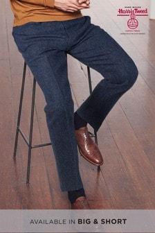 Signature - Pantaloni vestibilità sartoriale in tessuto britannico Harris Tweed a spina di pesce