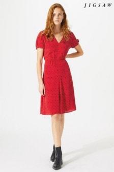 Jigsaw Red African Spot Tea Dress