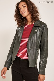 Mint Velvet Green Washed Biker
