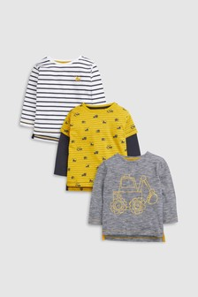 Digger Long Sleeve T-Shirts Three Pack (3mths-7yrs)