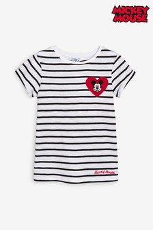 Mickey Mouse™ Stripe With Embroidered Heart T-Shirt (3-16yrs)