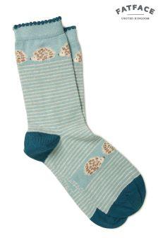 FatFace Green Hedgehog Stripe Socks