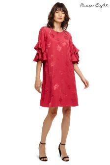 Phase Eight Bright Lipstick Dena Plain Jacquard Dress