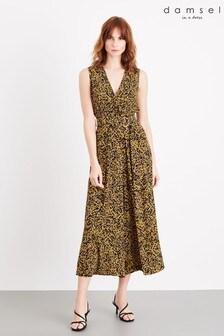 Damsel In A Dress Yellow Damaris Leopard Jumpsuit