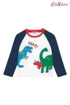 Cath Kidston® langärmeliges Raglan-T-Shirt für Kinder mit Dino Stamp-Motiv, Weiß
