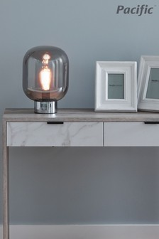 Caserta Smoke Smoke Glass Ball And Chrome Table Lamp by Pacific