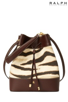 Ralph Lauren Zebra Canvas Debby Mini Drawstring Cross Body Bag