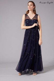 Phase Eight Blue Marcia Sequin Tulle Dress