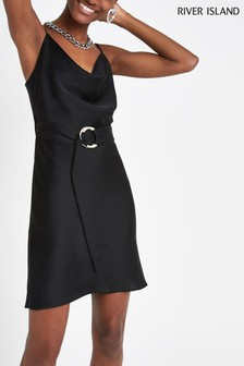 River Island Black Cowl Neck Belted Slip Dress
