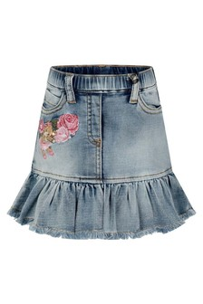 Baby Girls Blue Denim Stretch Teddy Skirt