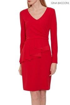 Gina Bacconi Red Eliane Crepe Peplum Dress
