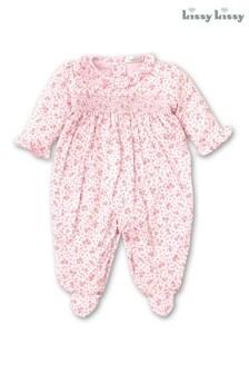 Kissy Kissy Pink Ditsy Floral Smocked Babygrow