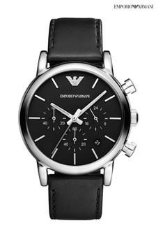 Emporio Armani Black Leather Watch