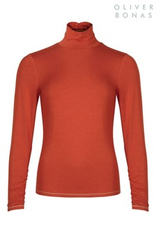 Oliver Bonas Historian Rust Roll Neck Jersey Top