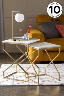 Marble and Gold Nest of 2 Tables