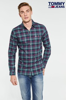 Tommy Jeans Overdyed Green Oxford Check Shirt