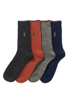 Cable Socks With Merino Wool Four Pack