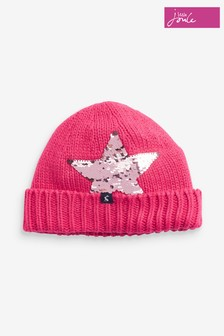 Joules Pink Bobbie Luxe Knitted Hat