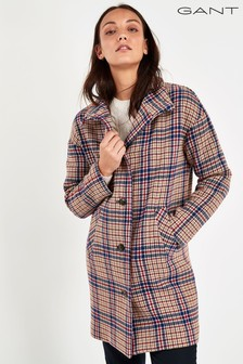 GANT Beige Checked Cocoon Coat