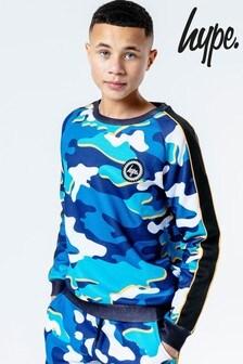 Hype. Blue Blueline Camo Kids Crew Jumper
