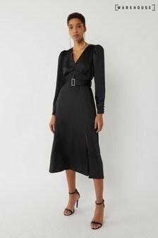 Warehouse Black Satin Puff Sleeve Midi Dress