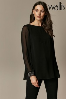 Wallis Black Pearl Embellished Cuff Blouse