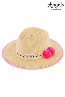 Angels By Accessorize Natural Pom Pom Fedora Hat