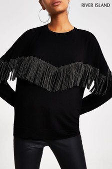 River Island Black Fringe Sweater