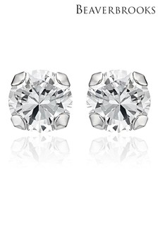 Beaverbrooks 9ct White Gold Cubic Zirconia Stud Earrings